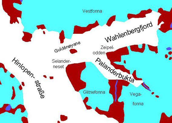 Kart Wahlenbergfjord og Palanderbukta